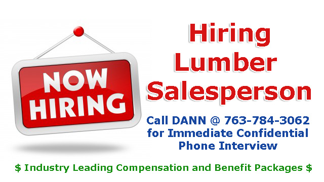 HELP WANTED LUMBER SALESPERSON