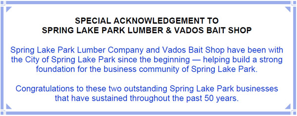 SPECIAL ACKNOWLEDGEMENT TO SPRING LAKE PARK LUMBER